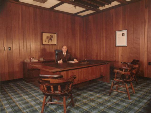 Jack McDevitt Sr. sitting in his Manchester NH office